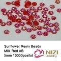 Atacado 10000 pcs AB Strass Resina Geléia Leite Vermelho 5mm Rodada Flatback Scrapbook Beads Para DIY Arte Decoração de Unhas Caso de telefone