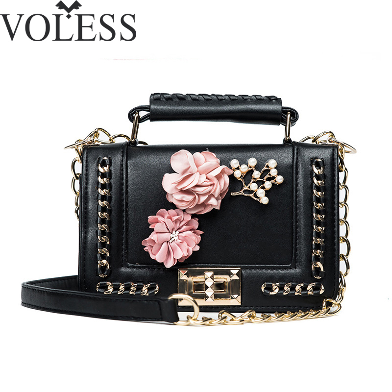 Luxury Handbags Women Bags Designer Fashion Flower Flap Pu Leather Handbag Crossbody Chains Female Messenger Bag Tote Bag цена