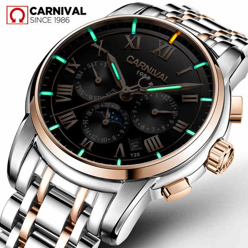 Tritium Gas Luminous Carnival Mens Mechanical Watches Top Brand Luxury Automatic Watch Men Moon Phase Clock Relogio Masculino men s watches automatic mechanical watch moon phase clock steel strap business watch top brand wristwatches relogio masculino