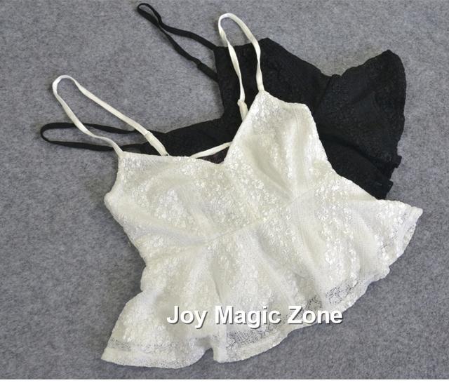 Envío libre l748 2016 nueva llegada del verano sexy de encaje de las mujeres tanques camisolas corto de color sólido chaleco de la correa de encaje sexy underwear