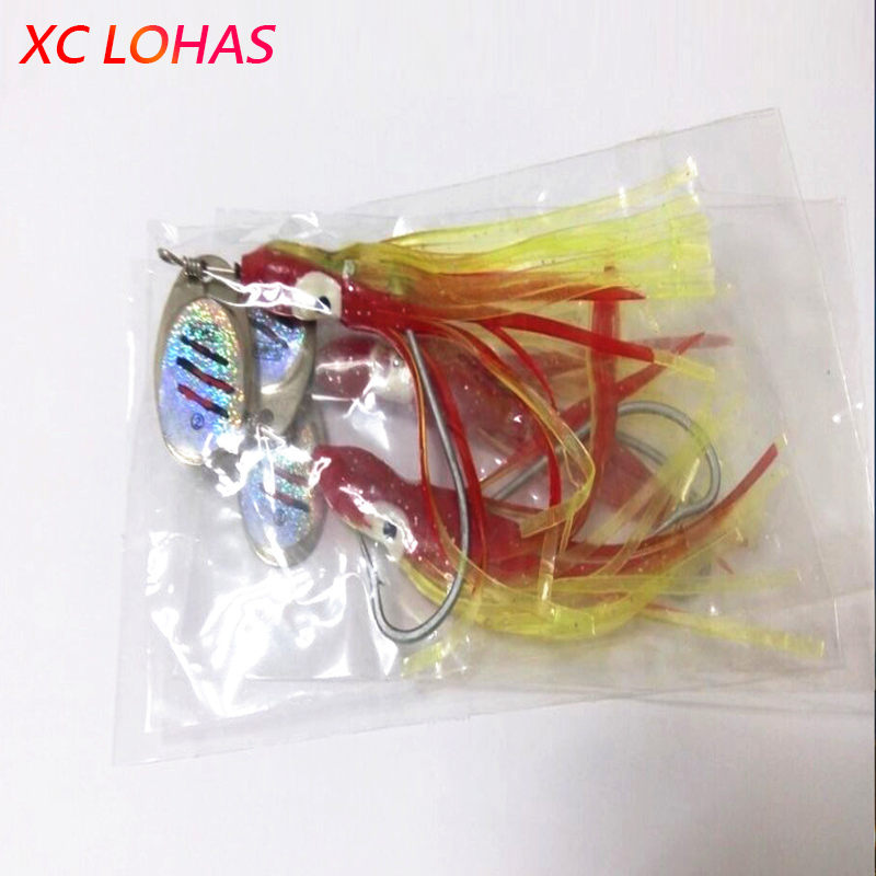 1x 7.5g Artificial Squid Lure Metal Spinner Fishing Lures Big Eye Octopus Simulation Soft Lure Bait for Sea River Fishing