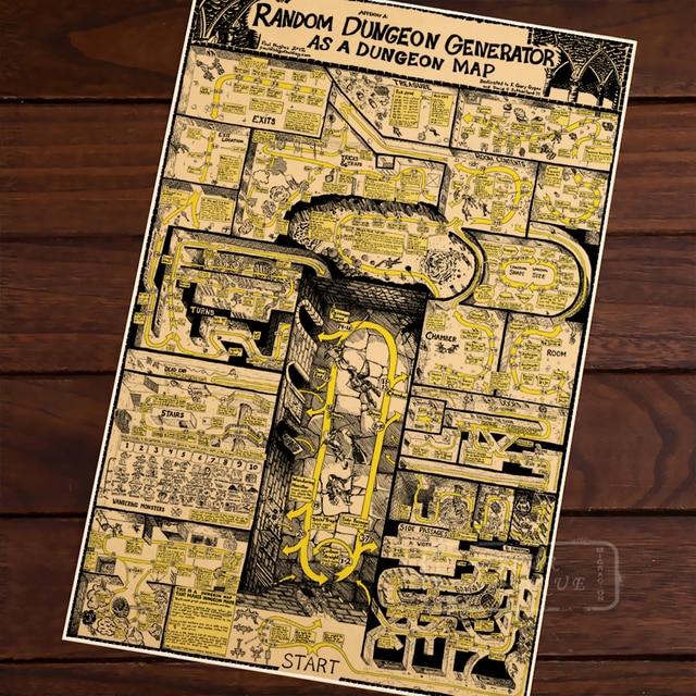€ 3 59 |Carte de aléatoire donjon générateur donjon classique Vintage rétro  Kraft décoratif affiche cartes accueil Bar affiches mur toile autocollant
