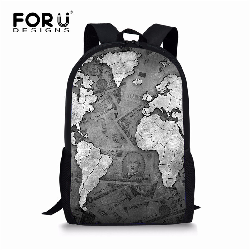 FORUDESIGNS World Map Men Polyster Backpacks Large School Bags For Teenager Boys Girls Travel Laptop Backbag Mochila Rucksack