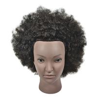 Short Hair Afro Male Mannequin Head 100% Human Hair Hairdresser Training Head Manikin Cosmetology Doll Head +Table Clamp Stand