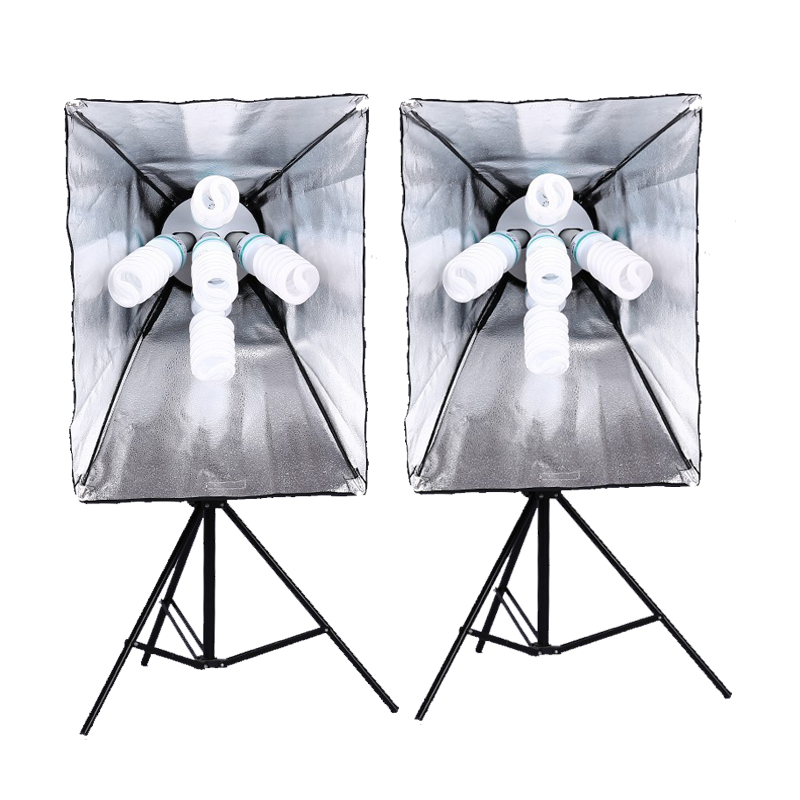5*135w Lighting Bulb+1pc*Photo Studio Photography Light 100-240V Continuous Lighting 5 Lamps Holder 50*70cm Softbox 2m Stand Kit