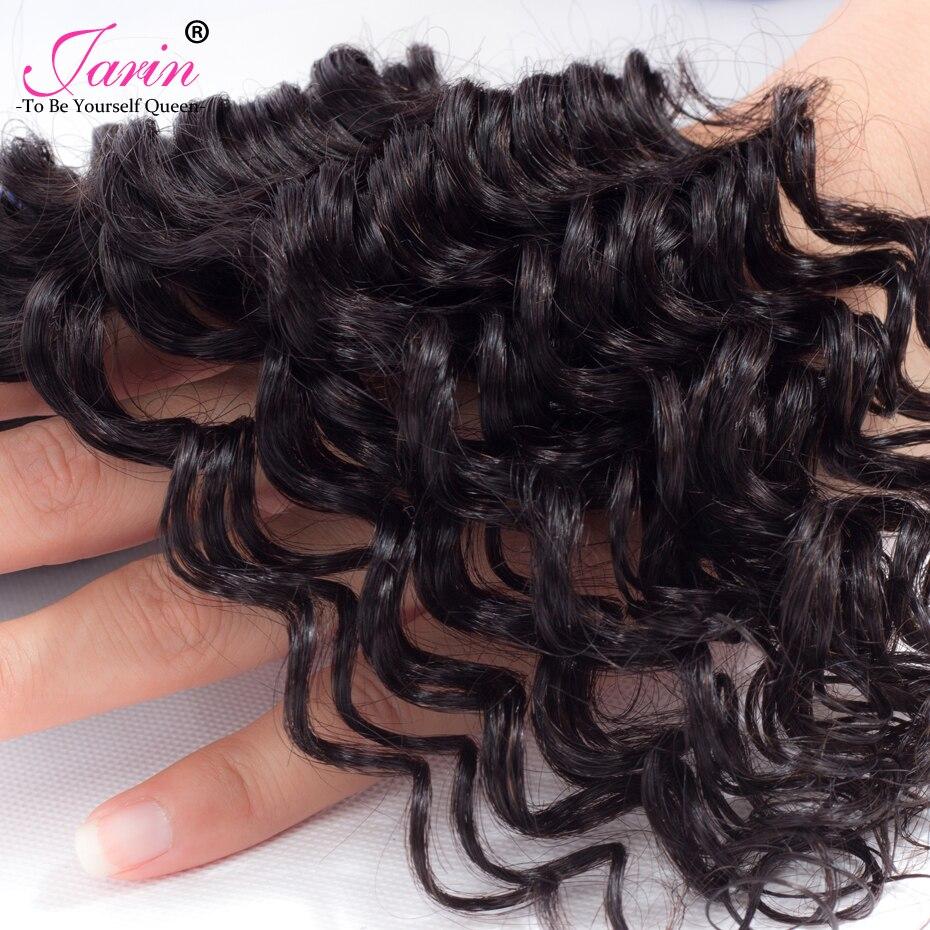 JARIN Indian Deep Wave Hair 3 Bundles With Closure Deep Curly 4x4 Lace Closure Human Hair 4 PCS DHL Free Shipping Natural Color
