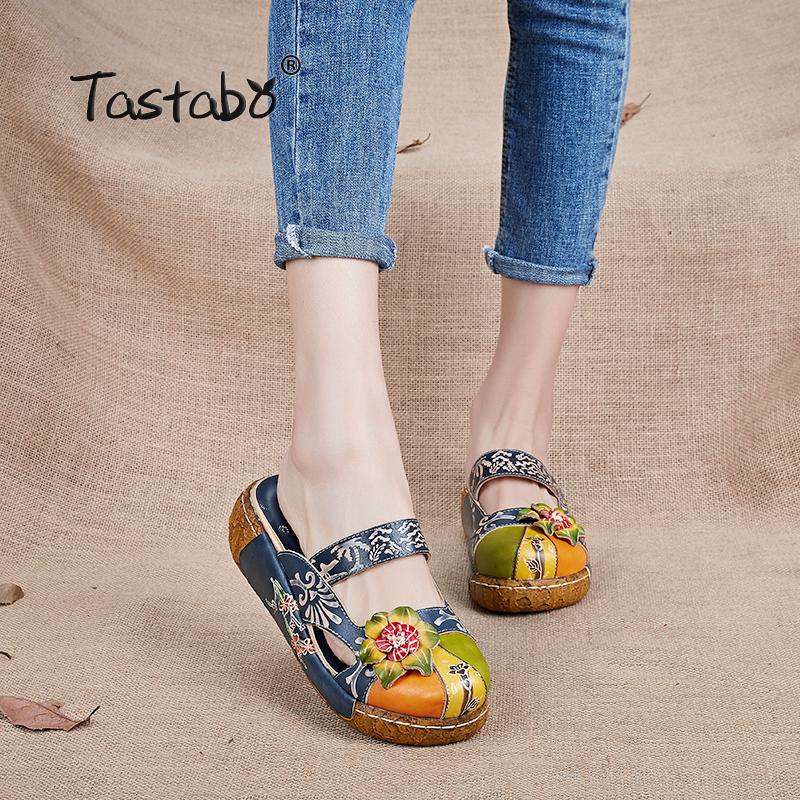 Tastabo Flower Slippers Genuine Leather Shoes Handmade Slides Flip Flop On The Platform Clogs For Women