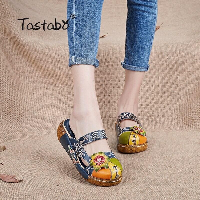 Tastabo Blume Hausschuhe aus echtem Leder Schuhe handgefertigte Folien Flip Flop auf der Plattform Clogs für Frauen Frauen Hausschuhe