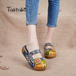 Tastabo Flower Slippers Genuine Leather Shoes Handmade Slides Flip Flop On The Platform Clogs For Women Women Slippers