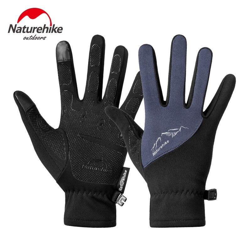 NatureHike Factory Store Winter Men Women Outdoor Sports Warm Fleece Touch Screen Gloves Full Finger Climbing Cycling Gloves