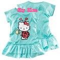 Niñas Hello Kitty de Algodón Vestido de La Muchacha Vestido Rosa de Moda de Verano Kids Vestido Casusl Algodón 2-8Yrs Envío Libre 40C