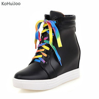 KoHuijo 2018 Winter Women Sneakers Casual Lace Up High Quality Wedge Heels Female Shoes Increase Height