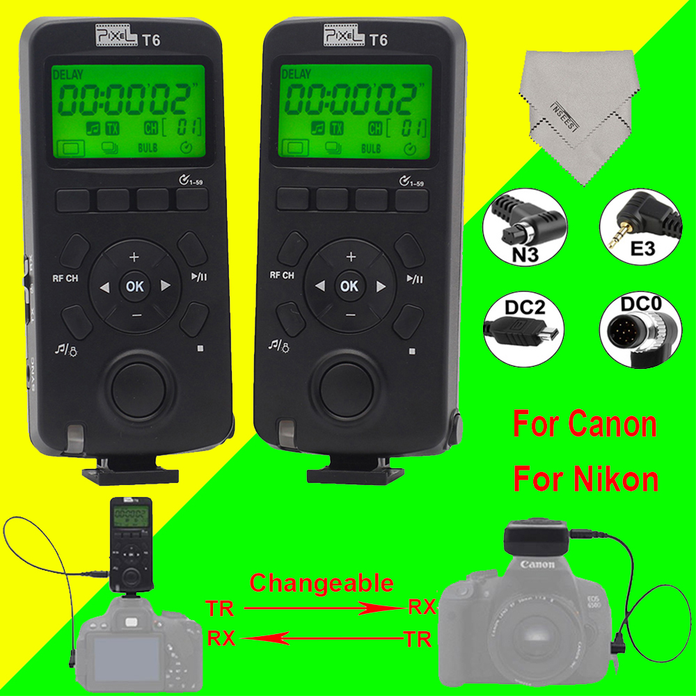 Pixel T6 Wireless Transceiver Timer Shutter Release Remote Control LCD with Cable For Canon Nikon D7000 D5000 D3200 D3100 Camera 1 lcd wired timer remote shutter release for canon eos 1ds mark ii more 1 x cr2025