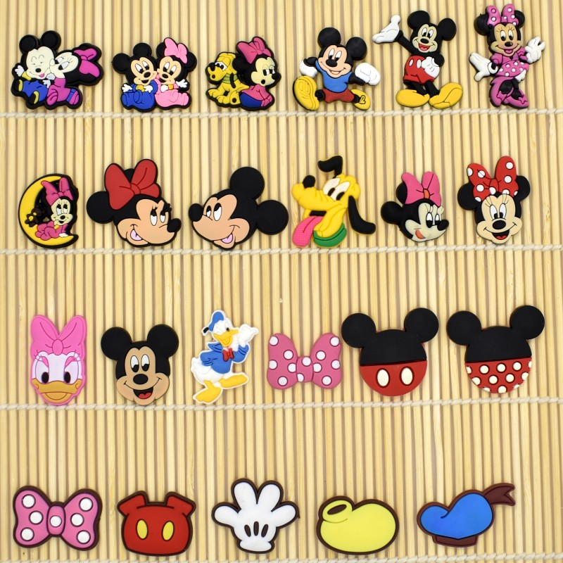 10PCS Cartoon Mickey/Minnie Flatback PVC DIY Decoration Fit Bracelets/Clog/Phone Case/Hair Accessory Charm Kids Girls Craft Gift