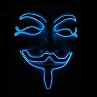Niebieski Kolor Świecące EL Drutu Mody Stroną Maski Horror Maska V Jak Vendetta Luminous Halloween Kostiumy Party Supplies