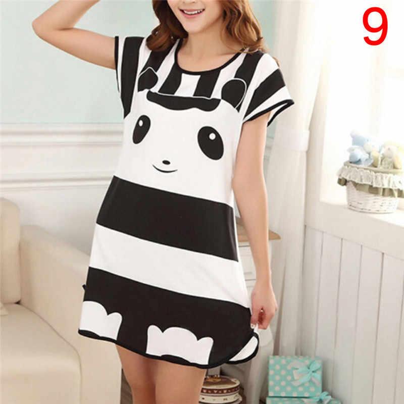 5c0f38b118 women nightgown Cartoon Polka Dot Bear Panda Rabbit Sleepwear Short Sleeve  Casual Home Dress Night Shirt