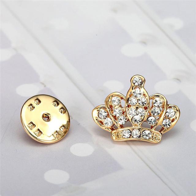 New Vintage Full Drill Crystal Mini Crown Brooch