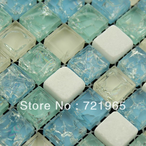 Green Glass Mosaic Tile Kitchen Backsplash