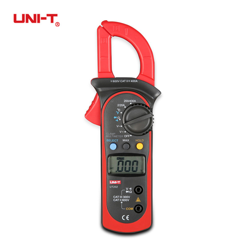 UNI-T UT202 Digital Clamp Current Meter Multimeter Pinza Amperimetrica Ammeter Voltmeter Test Lead Temperature Probe AC DC Ohm токовые клещи uni t ut202
