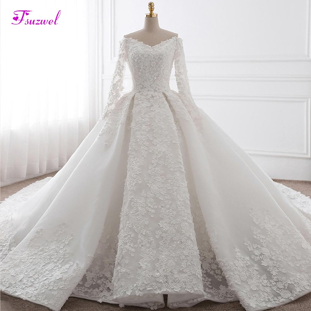 Glamorous Appliques Chapel Train Ball Gown Wedding Dress 2019 Fashion Sweetheart Neck Long Sleeve Bridal Dress Vestido de Noiva-in Wedding Dresses from Weddings & Events    1