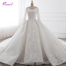 Glamorous Appliques Chapel Train Ball Gown Wedding Dress 2020 Fashion Sweetheart Neck Long Sleeve Bridal Dress Vestido de Noiva