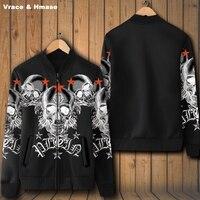 Butikowy w Europejskim stylu drukowania czaszki punk rock baseball kurtka Nowy nabytek mody przypadkowi najwyższej jakości kurtka zimowa mężczyźni S-4XL