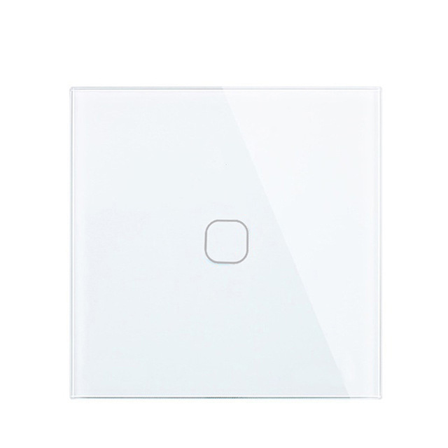 Minitiger EU Standard Luxury White Crystal Glass Switch Wall Light Touch Switch , 1 Gang 1 Way Touch Switch