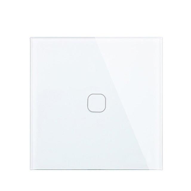 Minitiger padrão da ue luxo interruptor de vidro cristal branco parede luz toque interruptor, 1 gang 1 vias toque