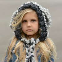 Free Shipping New Hot Winter Children Knitted Lamb Wool Warm Hat Cute Baby Thicker Windproof Baby