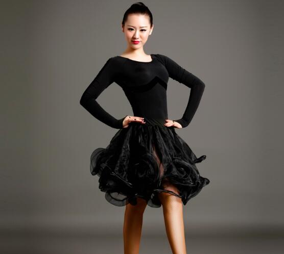 long sleeve latin Rumba cha cha salsa tango dance dress S-XXL pink,red,black