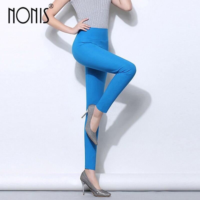 Nonis High Waist Women Skinny Leggings 2017 Candy Color Stretch Plus Size Female Pencil Pants Ladies Trousers Femme Pantalon