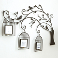 All handmade Retro iron tree birdcage creative living room wall mural wall photo frame combination