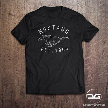 2018 Summer New Cool Tee Shirt American Muscle Car Classic Mustang Men's Black T Shirt Novelty Gift Tees Cotton T-shirt