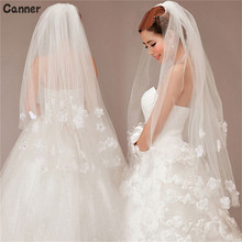 Canner Cheap Cathedral Flower Lace Edge Bride Veils Two Layer Short Wedding Veil Accessories