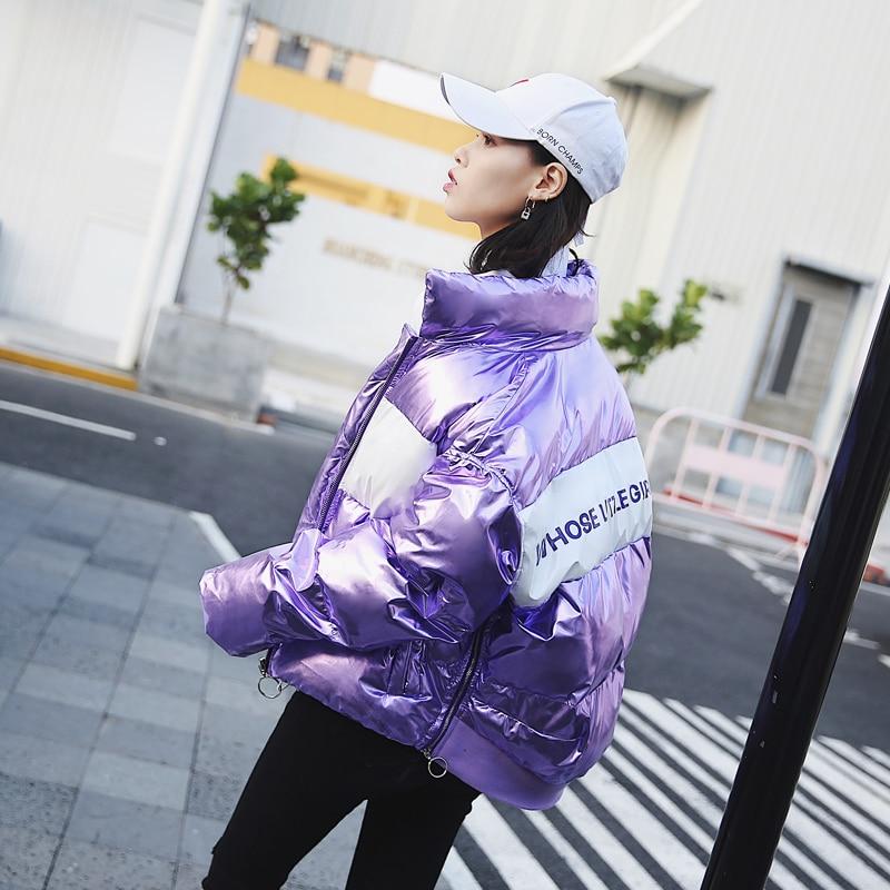 Fashion Shiny Down Jacket Women High Quality Cloak Type Short Puffer Jacket Female   Parkas   2019 New Arrival Womens Winter Coat
