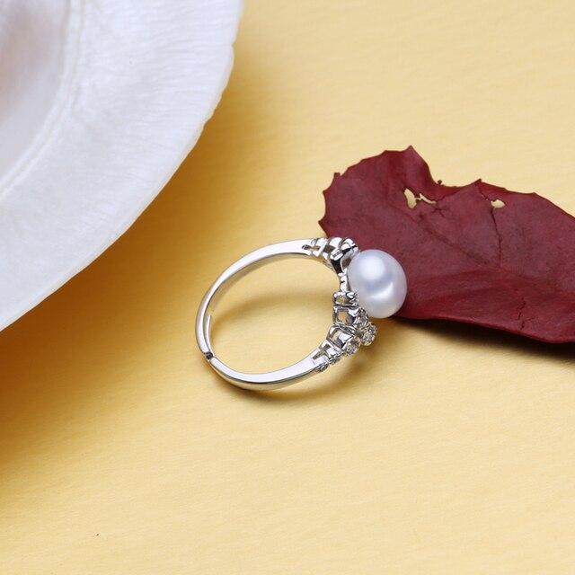FENASY anello di fidanzamento, Monili Della Perla, anelli del fiore per le donne, 925 anello d'argento, perline e pietre preziose femminile anello, Monili Fini