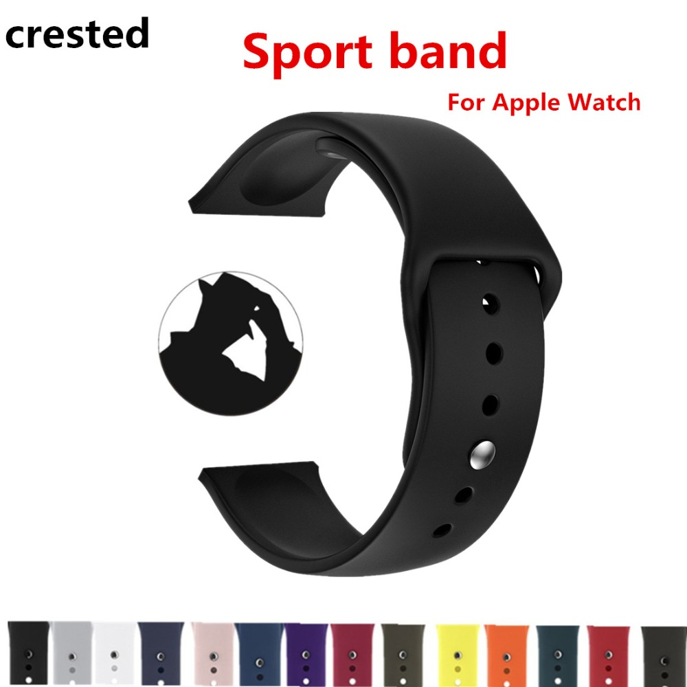 CRESTED sport band For Apple Watch 3 42mm/38mm iwatch 3/2/1 silicone wrist band strap Rubber watch band stainless steel Adapter crested nylon band strap for apple watch band 3 42mm 38mm survival rope wrist bracelet watch strap for apple iwatch 3 2 1 black