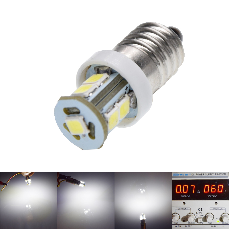 1Pcs E10 7 <font><b>SMD</b></font> <font><b>2835</b></font> LED Lights White MES Miniature Screw Bulb 1447 style Screw Lamp MOTOR BIKE Light 6V DC <font><b>6000K</b></font> image