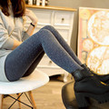 Mid Girl Quality Women Cotton wool Black leggins Sparkling Dot Design Thicker Knitted flexible Leggings Elastic fashion