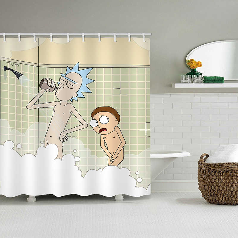 Cartoon Waterproof Shower Curtains Rick And Morty Naked Shower Curtain Bathroom Waterproof Polyester 3d Curtains For Bathroom