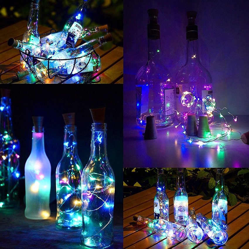 5 stks / partij 10 leds 15 leds 20 leds Zonne-energie Glas Wijnfles - Vakantie verlichting - Foto 4