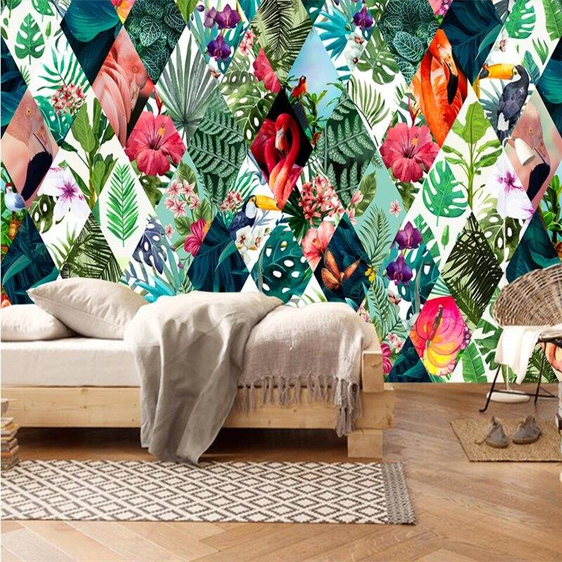 Купить с кэшбэком wellyu Nordic tropical plants flower flamingo TV sofa background wall paper custom large mural green wallpaper