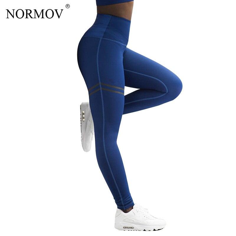 NORMOV deportiva de cintura alta aptitud polainas pantalones de las mujeres de moda Patchwork entrenamiento Legging Stretch Slim ropa deportiva Jeggings