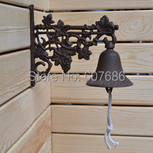 Country Rustic Grape Door Bell WELCOME Dinner Bell Cast Iron Wall Decorative Bell for Home Bar Shop Store Antirust Free Shipping