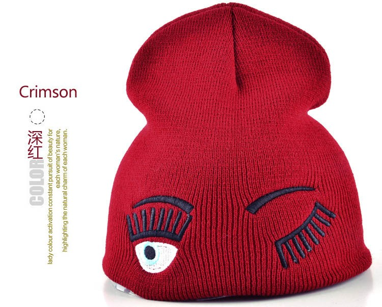 2017 new winter hats for woman striped solid caps girl Knit cap woman eye lashes facial expression beanies gorro 15