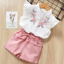 Girls Clothing Sets New Summer Kid Clothes Set Cartoon Children Clothing Toddler Girl Tops+Shorts Pink girl set недорого