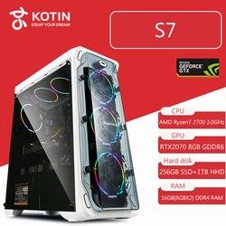 KOTIN S7 игр настольных ПК компьютер Ryzen 7 2700 GeForece RTX2070 Intel 256 GB SSD WD 1 ТБ HDD 16 GB Оперативная память Corsair 650 W жидкостного