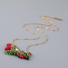 France  Les  Nereides  Enamel  Glaze  Copper  Fashion  Flower  Grape  Fruit  Gem  Women  Neckalces