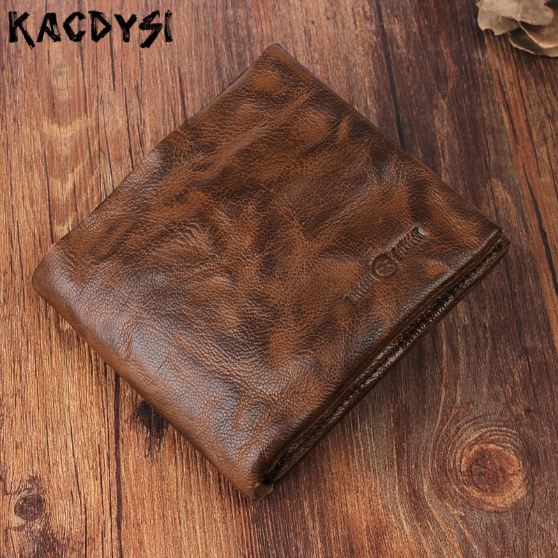 Top Layer Sheepskin Leather Original Handmade Men Wallet Retro Short Bifold Purse Modern Stylish Wallet Leather