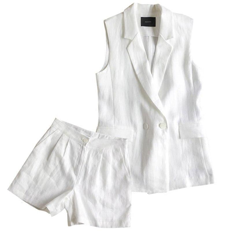 Shorts Costume Grande Gilet Deux Taille Mode Femmes Coton Sans Manches V Nouveau Linge blanc Col Femme Larges 2018 pièce Marine Bleu Été Chaude De Jambes RfqOwaP